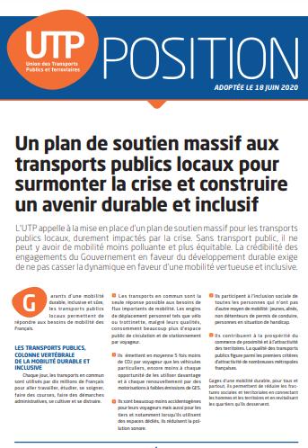 Position_Un plan de soutien massif aux transports publics locaux pour surmonter la crise et construi